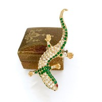 Green and Clear Rhinestone Lizard Brooch Sculpted Gold Tone Metal Movement & Dimension Gentle Curves Long Tail Vintage Figural Gift for Her