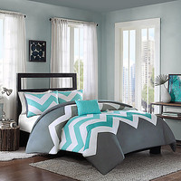 Cade Reversible Duvet Cover Set in Aqua