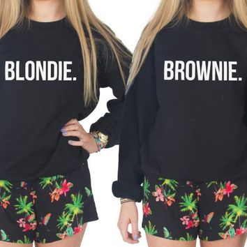Blonde Brunette Best Friend Letters Print Women Sweatshirts Casual Hoody For Lady Funny Hipster Jumper Drop Ship ZT-111