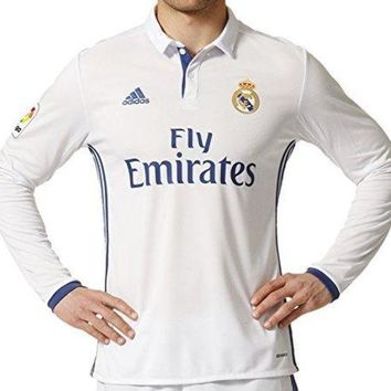 adidas Men's Real Madrid Long Sleeve Home Soccer Jersey 2016/17 (White)