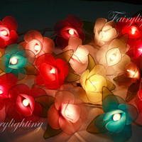 String Lights - 20 Multi Color Rose Flower Fairy String Lights Hanging Wedding Gift Party Patio,Bedroom fairy lights,Home Decor