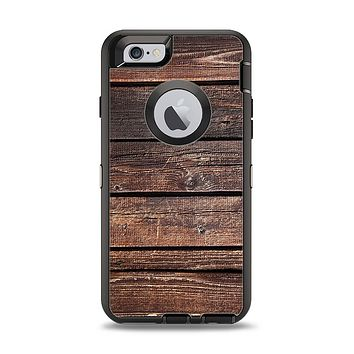The Vetrical Raw Dark Aged Wood Planks Apple iPhone 6 Otterbox Defender Case Skin Set