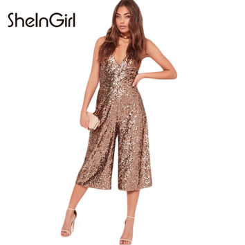 SheInGirl Solid Sexy Sequined Women Jumpsuits Off Shoulder Strap Rompers V-Neck Casual Chic Female Summer Jumpsuits