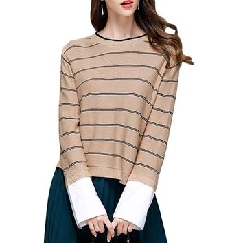 [15696] Pullover Long Sleeves Striped Knit Sweater