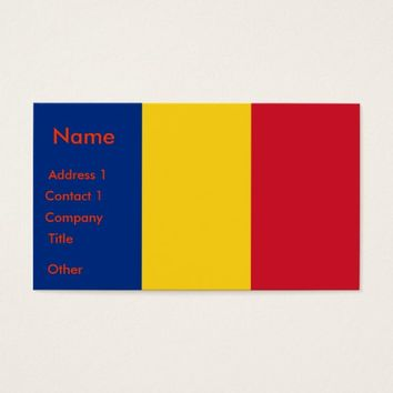Business Card with Flag of Romania