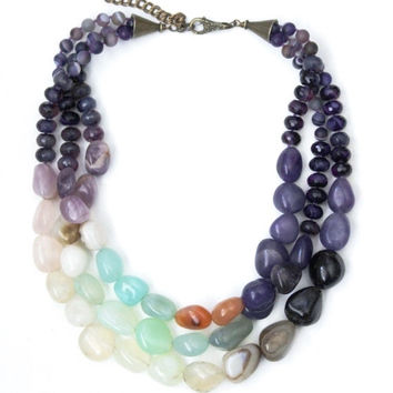 Chunky stone necklace, 3 strand, agate, amethyst. multicolor large beads, toggle clasp.