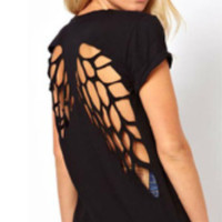 Cutout Angel Wings Back Shirt