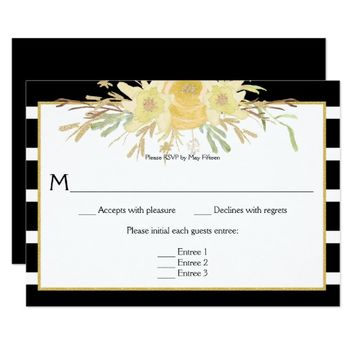 Yellow Watercolor Flowers on Black Stripes RSVP Card