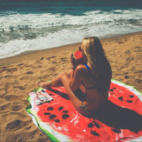 Round Watermelon Digital Printing Beach Towel Polyester Fabric Beach Towels Multi-Purpose Sunscreen Wrap Skirt 150x150cm