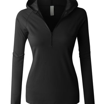 LE3NO PREMIUM Womens Lightweigth Fitted Half Zip up Pullover Hoodie Sweatshirt