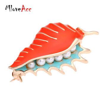 MloveAcc Vintage Enamel Conch Sea Snail Brooch Pin Retro Simulated Pearl Accessories Gothic Jewelry
