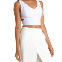 White Deep V Cut-Out Crop Top by Charlotte Russe