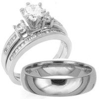 3 Pieces Men's Women's, His & Hers, 925 Sterling Silver & Titanium Engagement Wedding Ring Set, AVAILABLE SIZES men's 8,9,10,11,12; women's set: 5,6,7,8,9,10. CONTACT US BY EMAIL THROUGH AMAZON WITH SIZES AFTER PURCHASE!