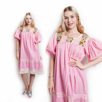 Vintage 70s Dress - Pink Cotton MEXICAN Embroidered Lace Tent Dress 1970s - OSFM
