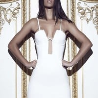 Missguided - Peace + Love Boned Cup Bodycon Dress White
