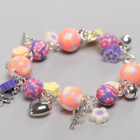 Unusual colorful handmade children's plastic wrist bracelet with charms