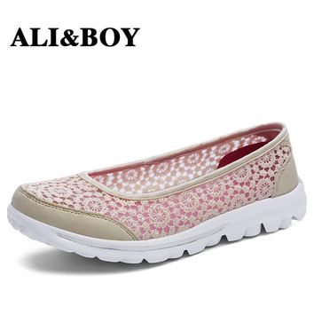 ALIBOY chaussure femme Lace super light lose-weight sport sneakers woman ladies shoes walking footwear trainer basket femme 2017