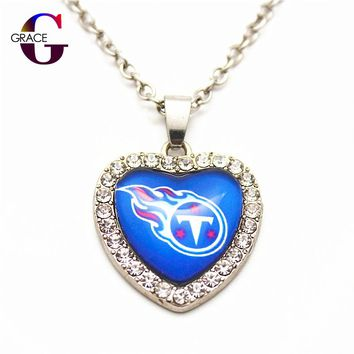 6pcs Fashion Tennessee Titans Football Sports Charms Heart Crystal Necklace Pendant With 50cm Chains For Women Diy Jewelry