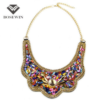 Women Net Fit Collar Choker Necklace Fashion Multicolor Resin Glass Bead Statement Necklaces & Pendants Bohemia Jewelry Colar