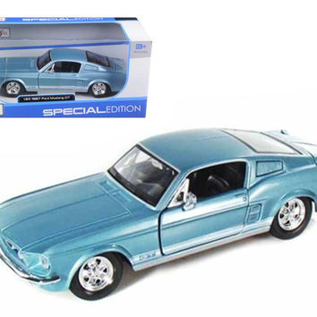 1967 Ford Mustang GT Diecast Car Model 1-24 Blue Die Cast Car by Masito