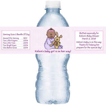 Baby Girl Shower Personalized Water Bottle Labels