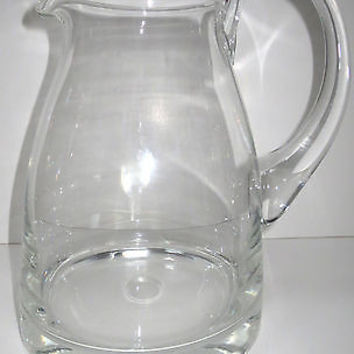 Clear Art Glass Pitcher Hand Blown VTG Applied Clear Handle Polished Pontil