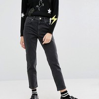 ASOS PETITE Farleigh Slim Mom Jeans In Washed Black at asos.com