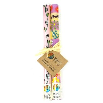 Tall Hand Painted Candles - Pair -Imbali Design