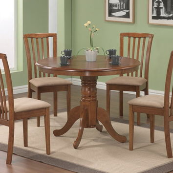 5 pc brannan collection oak finish wood mission style design upholstered seats dining table set