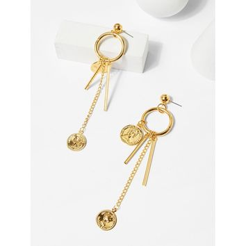 Gold Coin And Bar Detail Hoop Drop Earrings