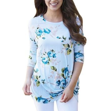 T Shirt Women Casual Long Sleeve Retro lovely Floral Print Knot crop Tops and t-shirt camisetas mujer