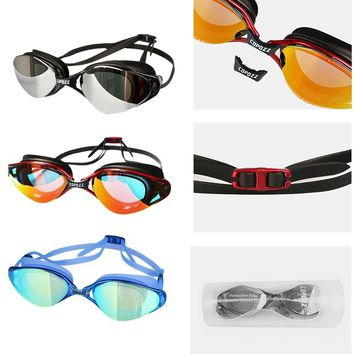 New Copozz Fashion Waterproof Anti-fog Small Flame Swimming Goggles Electroplating Version Silicone Glasses With Plastic Box