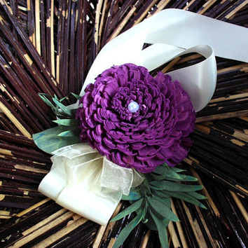 Purple sola and eucalyptus corsage | wrist corsage | ribbon corsage | wedding corsage | prom corsage | rustic wedding | winter wedding