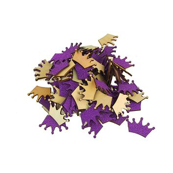 Royal Crown Glitter  Wood Favors, 1-1/2-Inch, Purple, 100-Piece