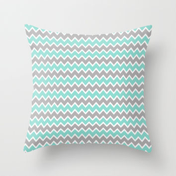Aqua Turquoise Blue and Grey Gray Chevron Throw Pillow by decampstudios