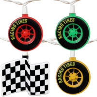 Race Flags and Car Tires Party String Lights, 8-Feet