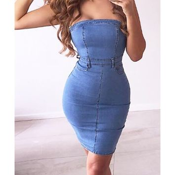 Nights In Nashville Blue Denim Strapless 5 Pocket Casual Bodycon Midi Dress