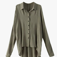 Oversized High Low Button Front Blouse