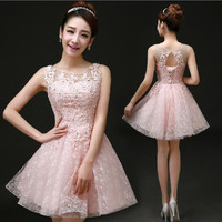 Pink Top Lace Cocktail Dress Women Gown Prom Dress Bridal Gown Vestido De Noiva Dinner Party Performance Moderator Q21041502 142211245