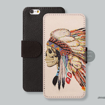Feather skulls iPhone 6 plus case, Card slot Wallet iPhone 6 case Leather Wallet Indian chief iPhone 5s case iPhone 5c case - C00024
