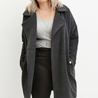 Plus Size Longline Textured Dolman Coat