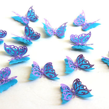3D paper butterfly sticker, wall sticker, baby nursery, room decoration, Paper butterflies, 3d butterfly art for girls room