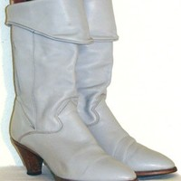 80s Vintage Soft Gray Leather Boots | NeldasVintageClothing - Clothing on ArtFire