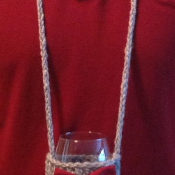 Knitted Gray and Burgundy Hands Free Wine Glass Holder