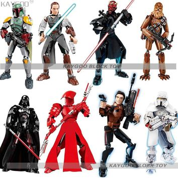 Star Wars Force Episode 1 2 3 4 5 New  Space  8 Big Action Figure Royal Guard Rey Han Solo Stormtrooper Boba Fett Kylo Darth Vader Maul Building Block Toy AT_72_6