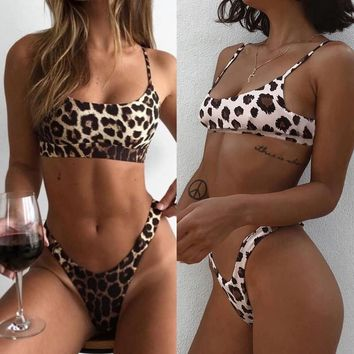 Leopard Print Padded Push Up 2 Piece Swimsuit Khaki, Brown, or Yellow