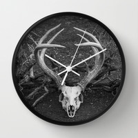 Deer Skull Wall Clock by Maureen Bates Photography | Society6