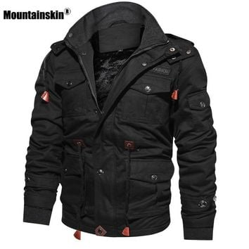 Mountainskin Men's Winter Fleece Jackets Warm Hooded Coat Thermal Thick Outerwear Male Military Jacket Mens Brand Clothing SA600