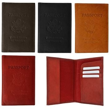 Genuine Leather Passport Credit Card Holder Wallet for Traveling 601 CF USA BLIND (C)