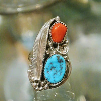 Vintage Turquoise Red Coral Ring Sterling Silver Navajo Native American Southwestern Fancy Feather Artisan Hand Crafted Tribe Tribal Jewelry